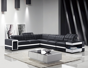 2017 newest American style modern Genuine Leather living room corner sofa