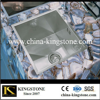 Nature Semi Precious Gem Stone Polished Agate Gemstone Grey Countertops/table  Tops