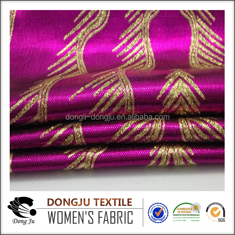 Dongju textile high quality crystal FDY foiled garment laser fabric sale