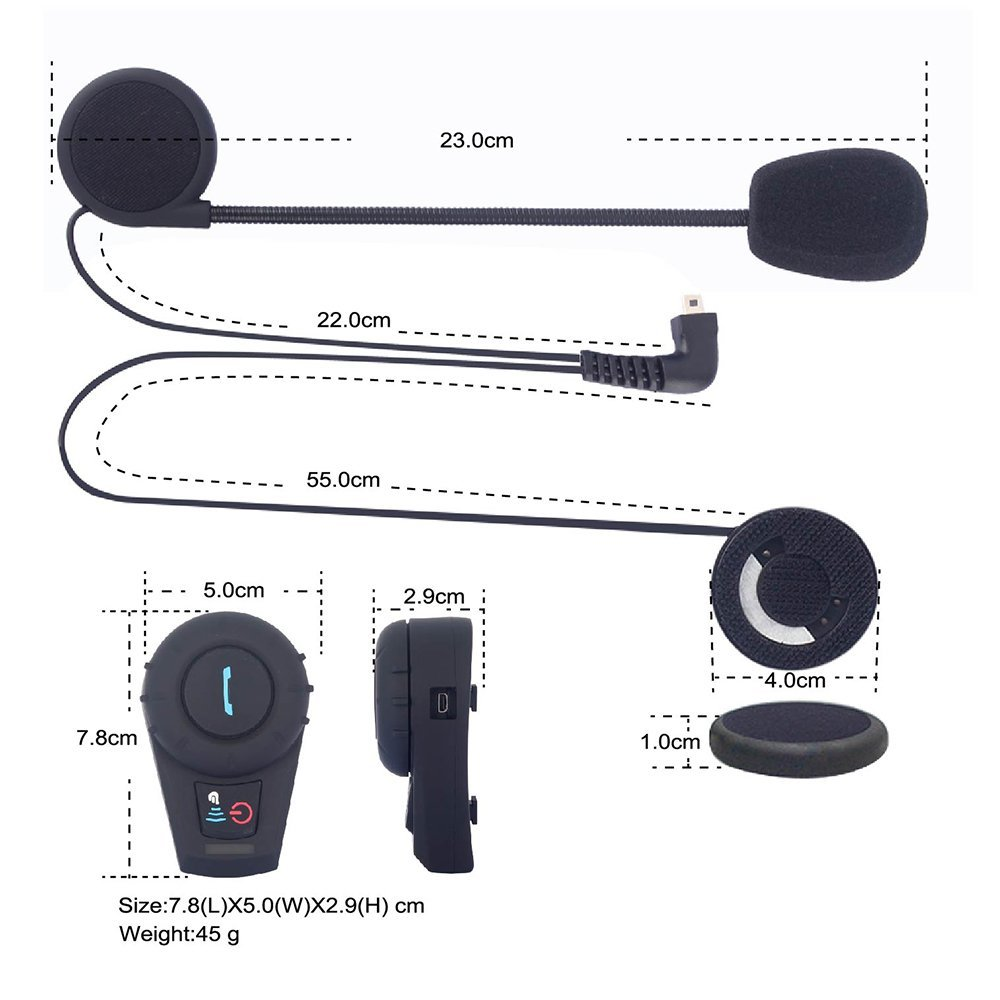 Blue tooth wireless 2 way motorcycle communication intercom system