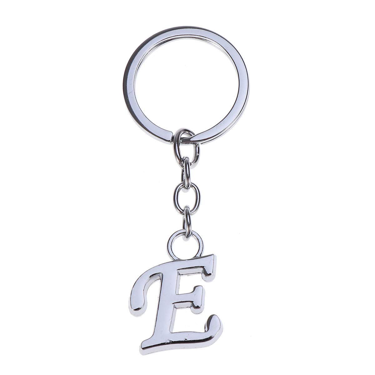 VORCOOL Simple Stylish Letter E Key Chain Metal Key Ring Alphabet Keychain Bag Pendant Charm Birthday Gift (Silver)