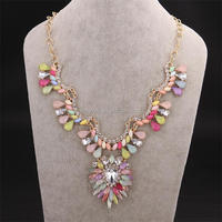 2014 fashion colorful painted stones necklace new york costume jewelry
