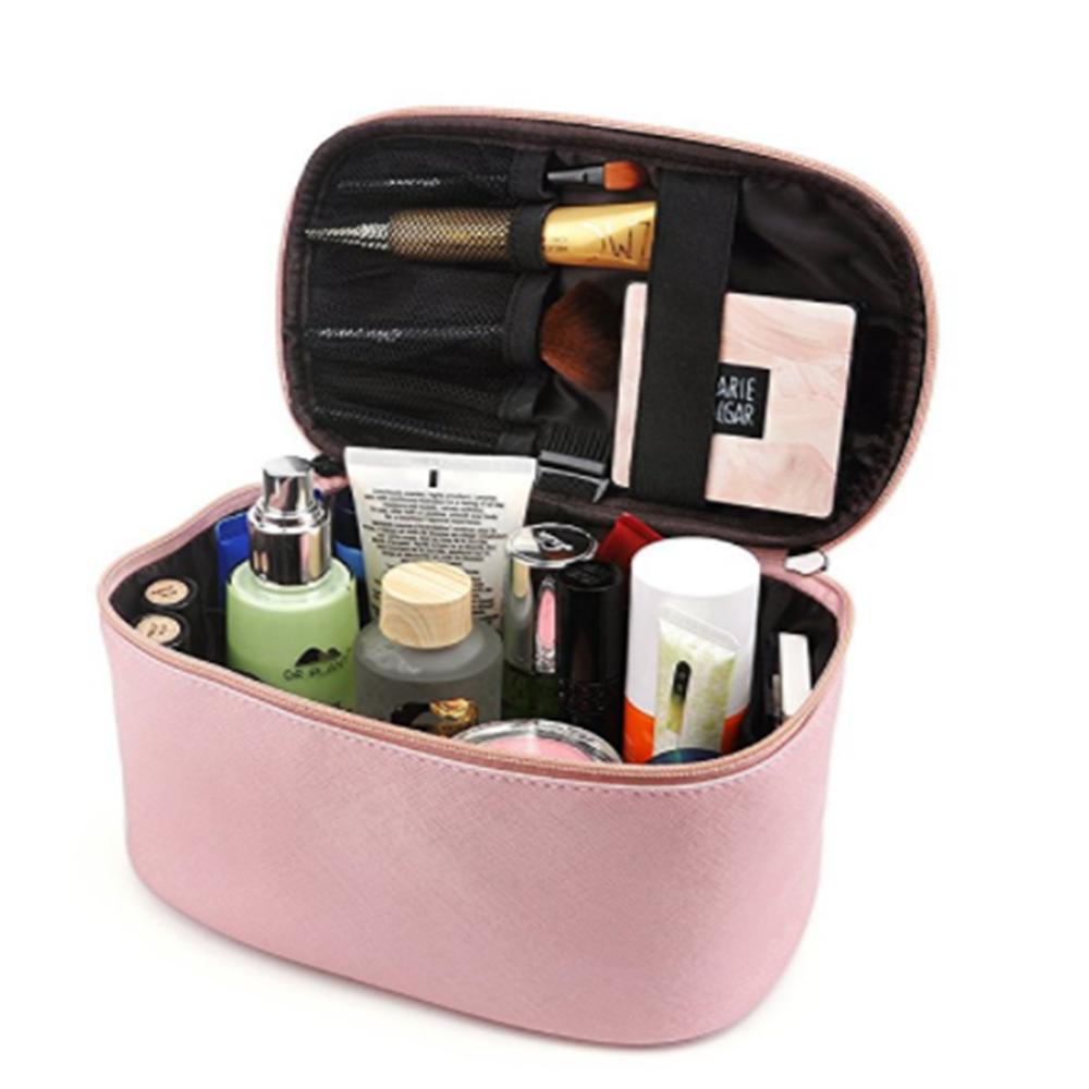 Pink Travel Makeup Organizer Bag Medium Promotional Cosmetic Bag with Brush  Holder 0d5e34875896f