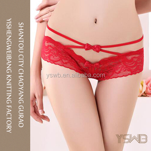 2016 fashion design lady breathable red lace thong panties