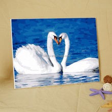 Free mind free painting swan diy OEM oil painting by numbers with wooden canvas and painting canvas