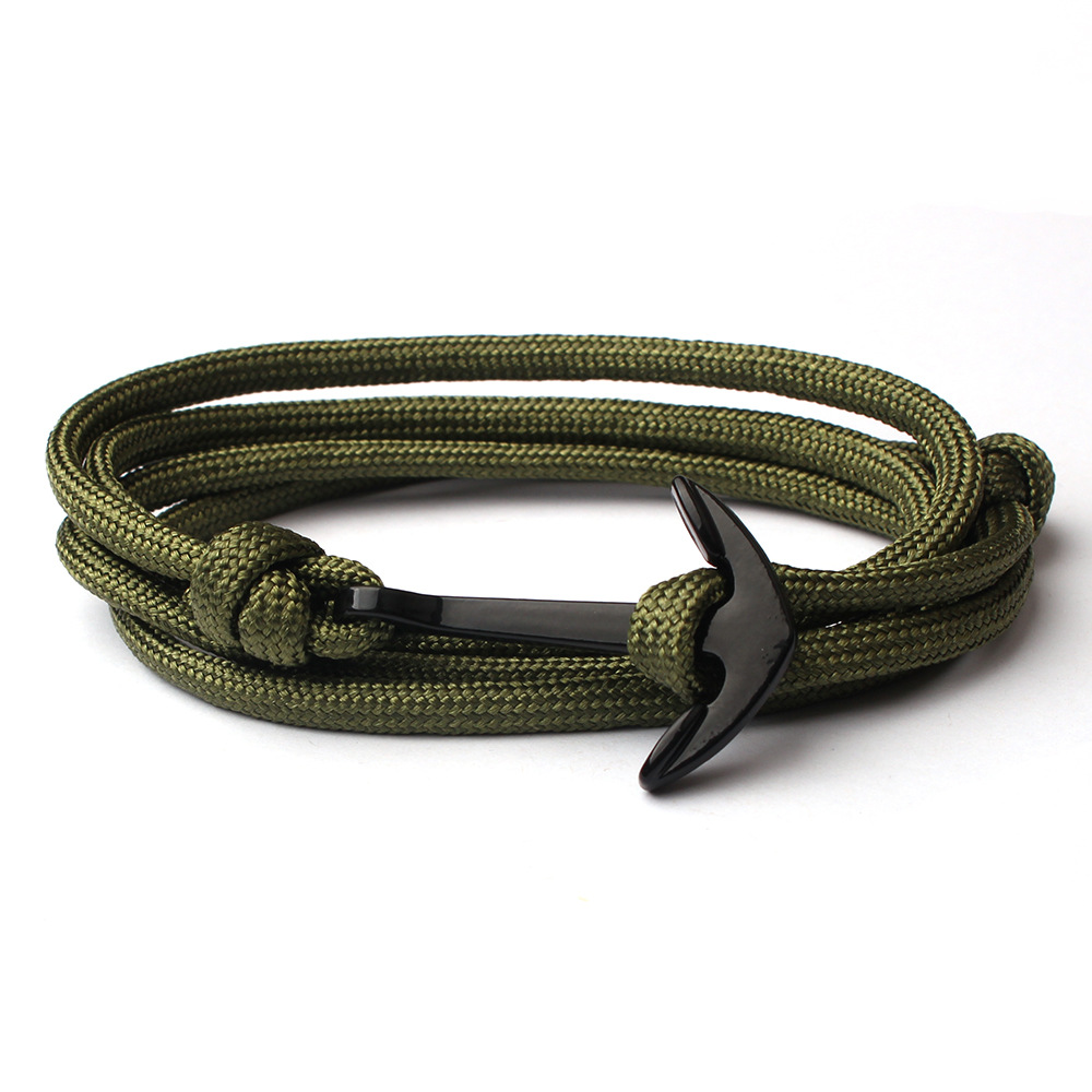 2018 New Fashion gold black Anchor Bracelets Men Charm Survival Rope Chain Paracord Bracelet Male Wrap Metal Sport Hooks, N/a