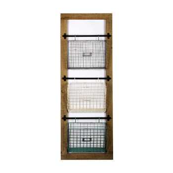 Kantoor hout en metalen rooster map opknoping document mail opslag houder rack wall mount file organizer