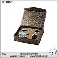 Deluxe practical wooden handle wine opener accessories with wine pourer