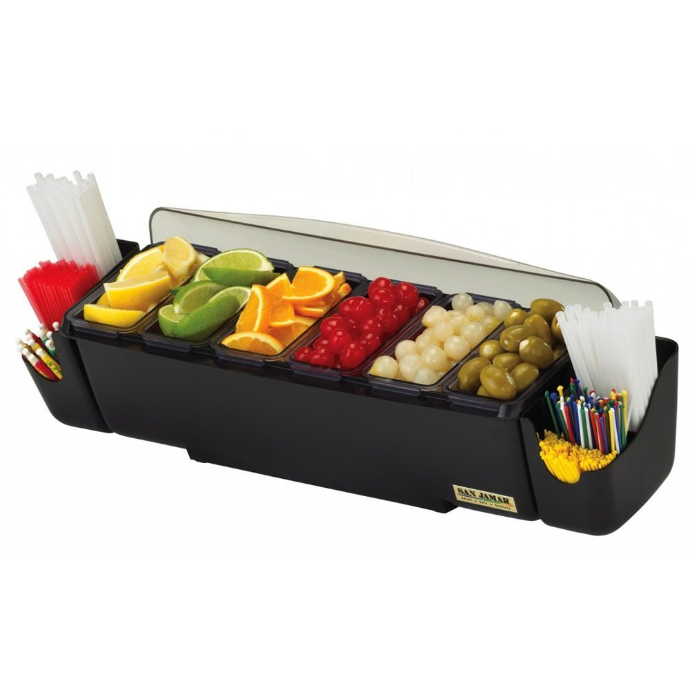 San Jamar The Dome Bar Garnish Center, 8-Compartments, Black/Clear, 3 Quarts - one garnish dispenser with two snap-on straw/stick caddies.