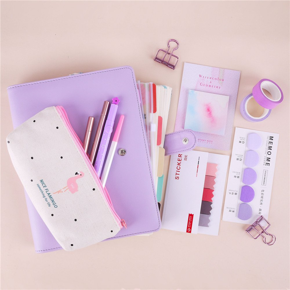 22pcs Bundle New Years Stationary Set A5 Colored Spiral Notebook With Filler Papers Pens Tapes Stickers Overvalued Stationery Set Package Cost-Effective (Purple Set)