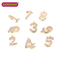 0-9 Gold Plated Crystal Rhinestones Number Charms Pendant
