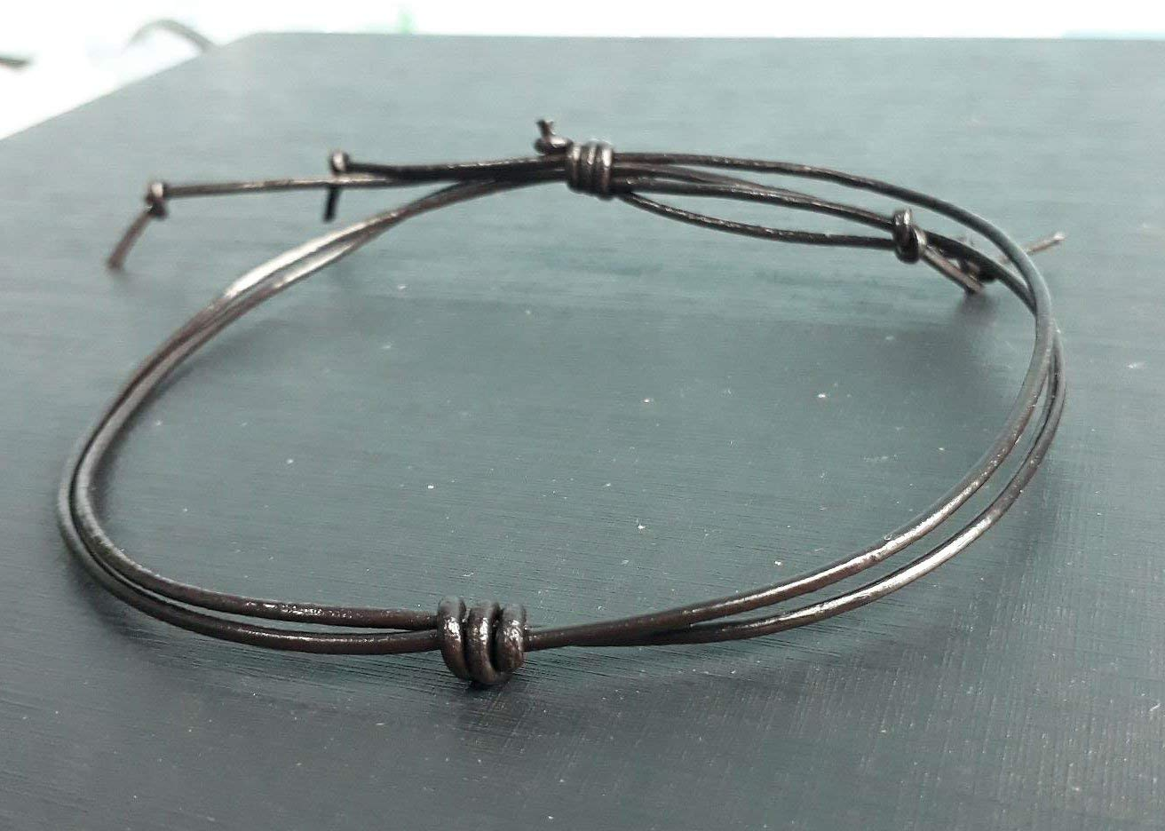 Dark brown real leather anklets for men and women fashion gift boys girl handmade