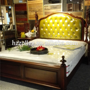 High back headboad with tufted design classic style wooden bed