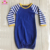 Girl pajamas clothes stripe romper 100 cotton newborn royal blue stripe raglan gown