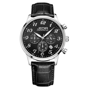 JEDIR 2022 Men Quartz Watches Rose Gold Arabic Numeral London 3 Eyes Chronograph Leather Band Quality Men Wrist Watches
