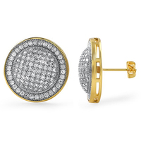2 tone 14k gold micro pave setting hiphop Lab diamond earrings