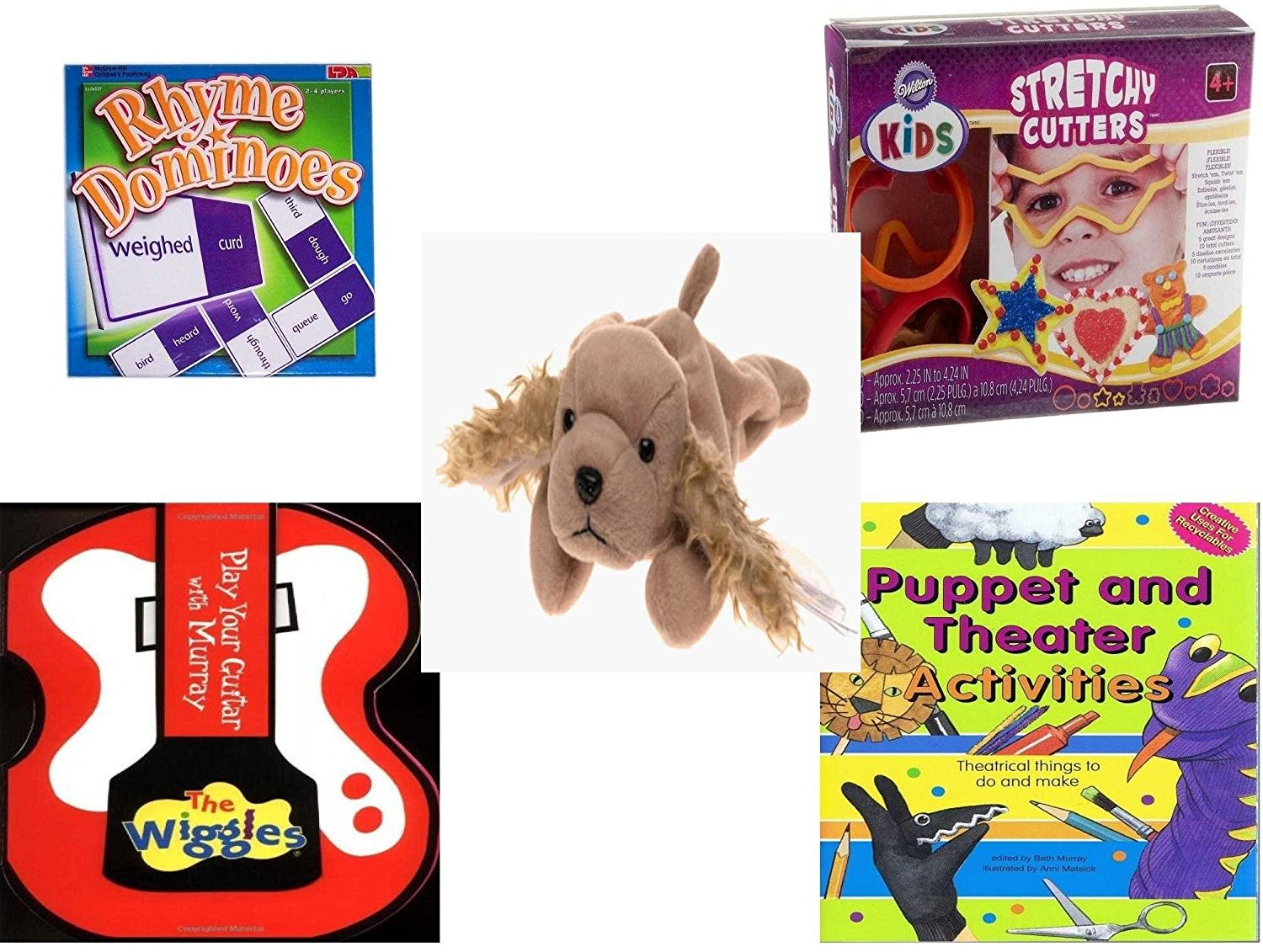 Children's Gift Bundle - Ages 3-5 [5 Piece] - Rhyme Dominoes Tile Game - Wilton Kids Stretchy Silicone Cookie Cutter Set, 10-Piece - Ty Beanie Baby - Spunky the Cocker Spaniel Dog - The Wiggles Play
