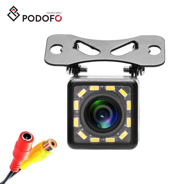 Podofo Waterproof Car Rear View Camera 170 Wide Angle HD CCD 12 LED Night Visions Backup Reversing Parking Camera Car-styling