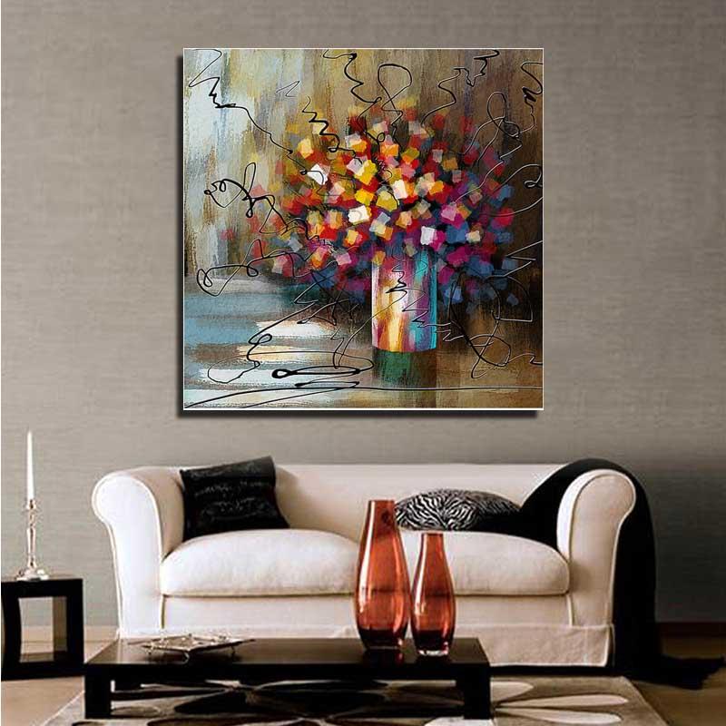moderna decoracin del hogar moderno abstracto colorido de flores de tinta pintura de la sala de