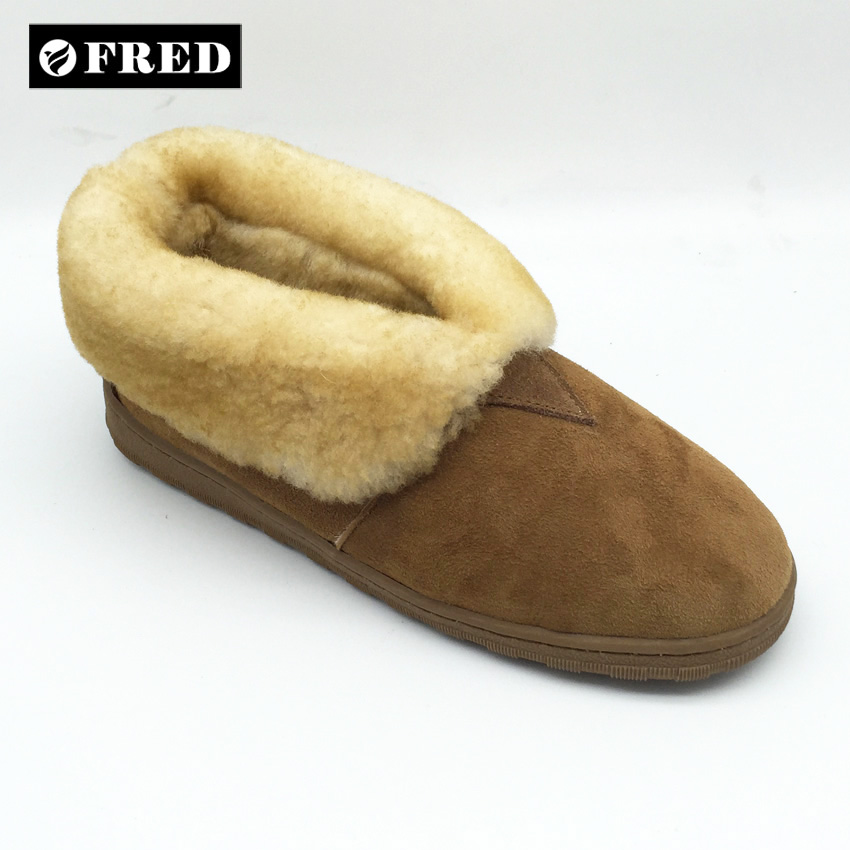Custom high quality OEM Australia merino sheepskin slipper with cow suede upper