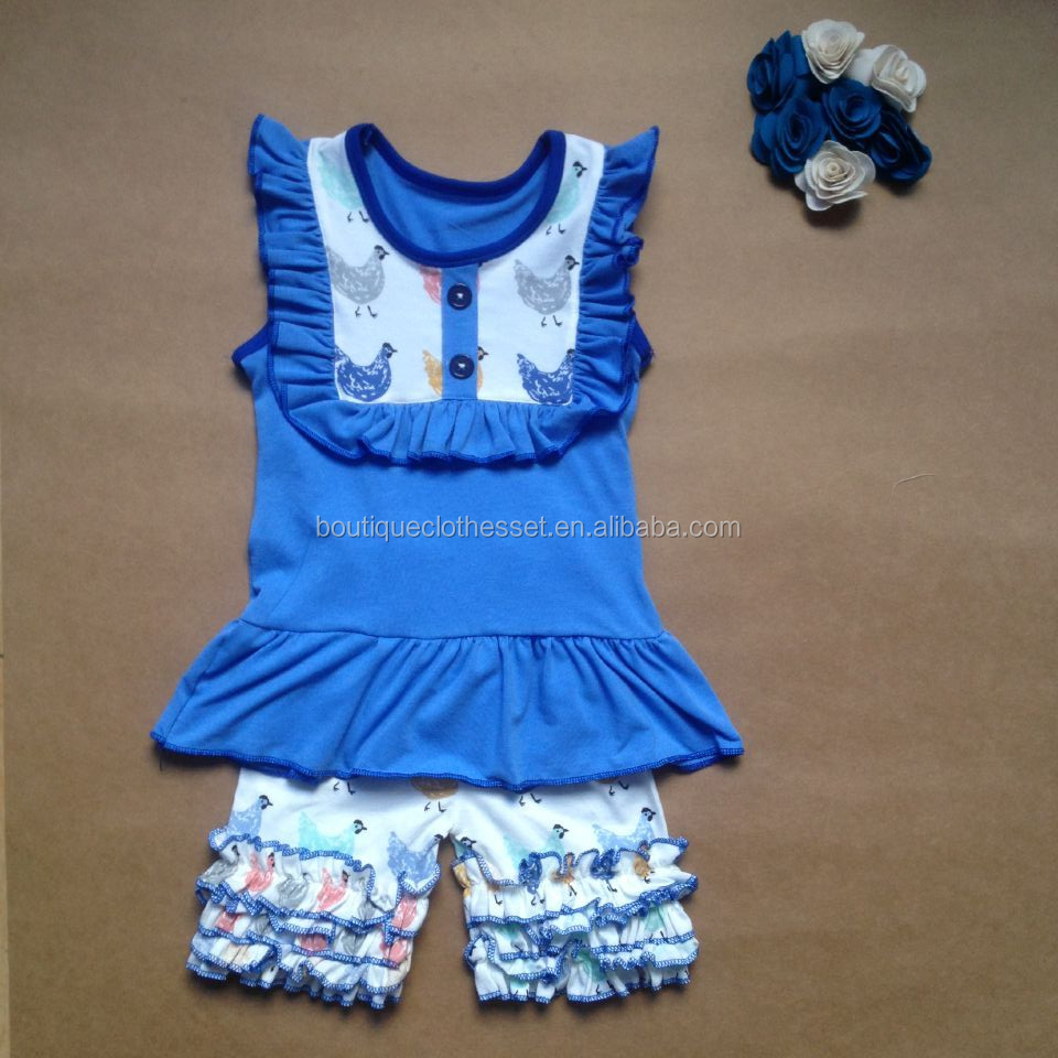 Lovely chicken outfit kids summer clothes set girls ruffle short chicken sets