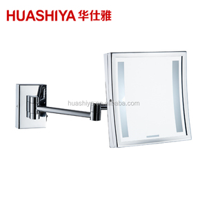 HSY1020 Led Light Wall Mount Magnifying Shaving mirror with 3 Lines Matte in Mirror Sheet