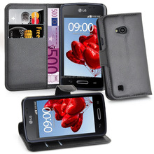 Luxury leather Wallet Case Cover Flip for LG L50, case cover for lg magna