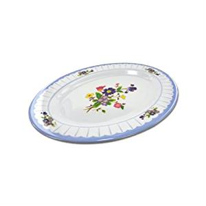 Oval plate with flower design, Case of 48