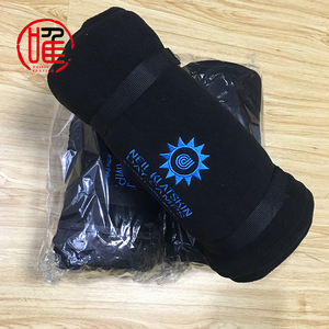 Custom Embroidery Logo Roll-up Travel Airline Blanket Outdoor Stadium Blanket With Strap