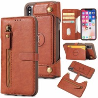 IKFCASE Retro 2 in 1 detachable wallet for iPhone X stand holder zipper leather TPU case