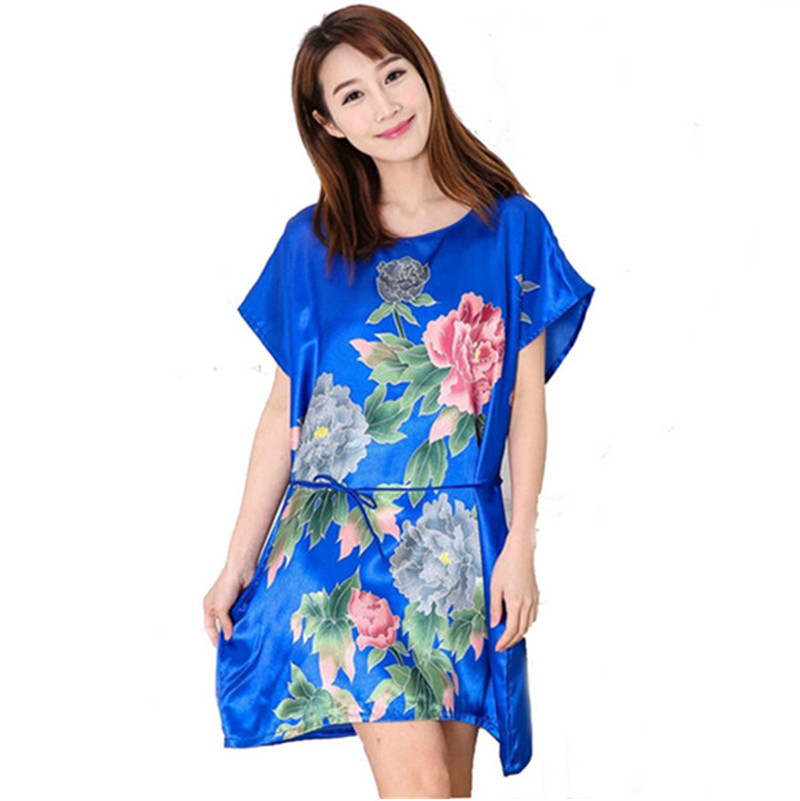 Buy New Sexy Women  39 s Vintage Floral Satin Silk Nightgown Robe Pajamas  Loose Nightdress Pijama Women Sleepwear 7 Colors Free Shipping in Cheap  Price on ... 33d896b29