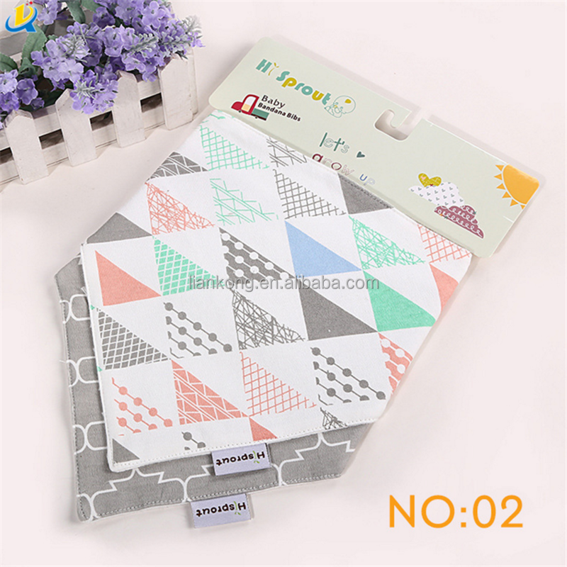2pcs/set 2017 Hot Sales High Quality Cheap Price Triangle Baby Bandana Bib baby saliva towel