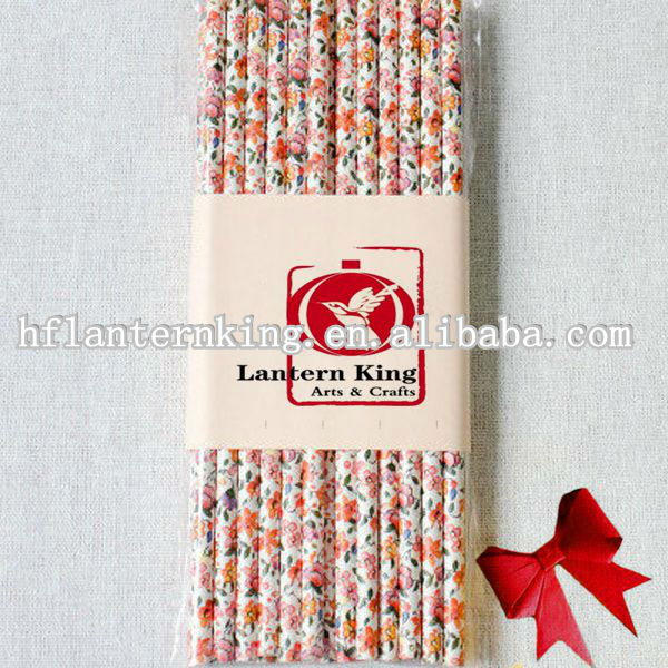 Floral Paper Straws for wedding decoration