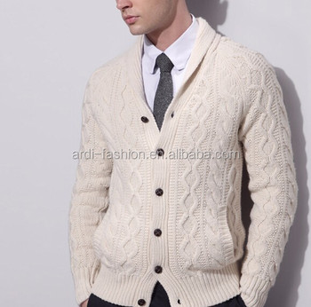 81dab98d58 2016 Winter Shawl Neck Cable Knitting Pattern Mens Chunky Cardigan ...