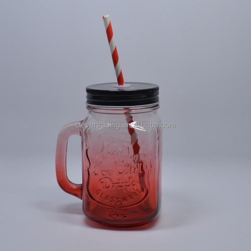 rouge verre mason jar 16 oz bocal en verre avec bouchon bouteilles bocaux de stockage id de. Black Bedroom Furniture Sets. Home Design Ideas