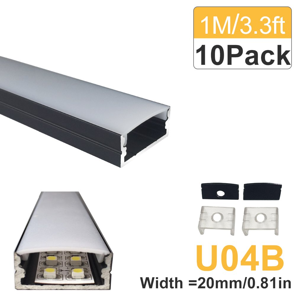 LightingWill 10-Pack U-Shape LED Aluminum Channel 3.28ft/1M Anodized Black Track for <20mm width SMD2835 3528 5050 LED Strips with Oyster White Cover, End Caps and Mounting Clips U04B10