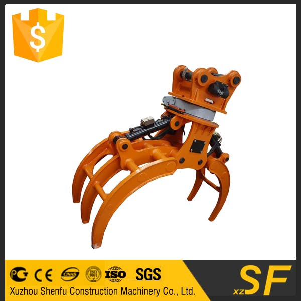 hydraulic rotating log suagercane excavator grapple