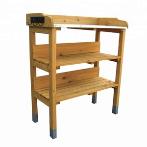 Galvanized potting bench metal potting bench weather resistant cypress wood  garden potting table bench with metal