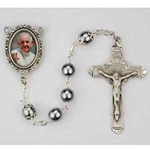 Pope Francis Rosary - 7mm Immitation Hematite Capped Our Father Beads. Pewter Pope Francis Center and Pewter Crucifix. Deluxe Gift Box Included.