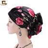 New Arrival Ladys Fashion Silky 3D Flower Turban Women Bridal Satin Girls Head Top Muslim Head wrap Print Satin Turban TJM-203