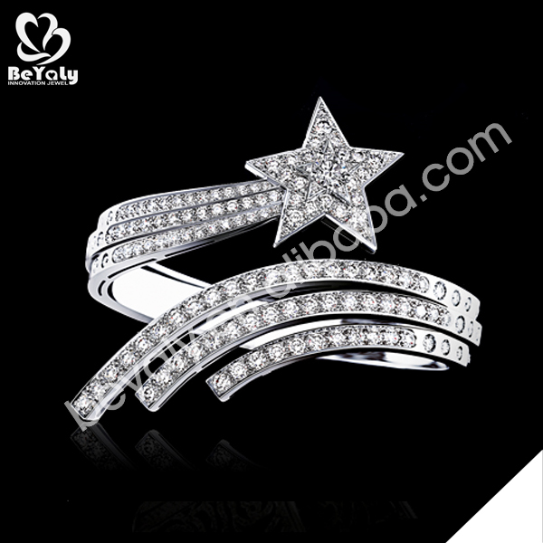 AAA zircon inlaid running star silver charms wholesale