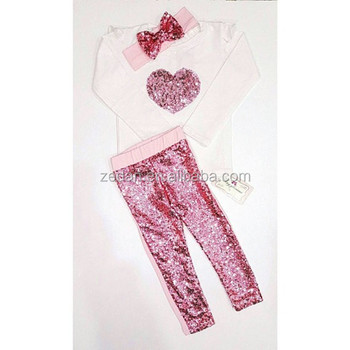 Valentines Day Clothes Sets Girl Raglan Pink Heart Shirts With Icing