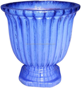 Viet nam pottery supplier blue round glazed outdoor ceramic pottery viet nam pottery supplier blue round glazed outdoor ceramic pottery for garden pots and decorative workwithnaturefo