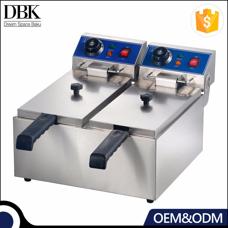 Guangzhou Manufacture Commercial Counter Top 2-Tank 2-Basket Automatic Electric Potato chips Deep Fryer with Factory Price