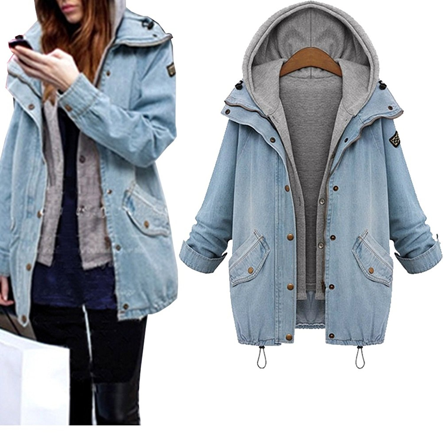 3ade61bd13097 Get Quotations · JudyBridal Womens Oversized Denim Jacket Zipper Fashion  Hooded Blue Jean Jacket