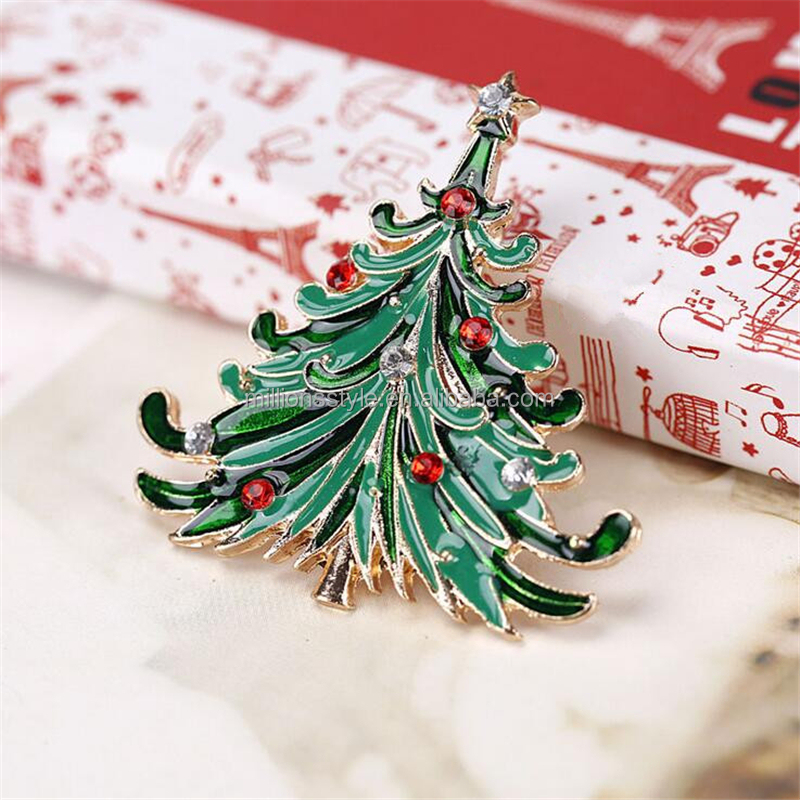 Custom Christmas tree glitter enamel lapel pins