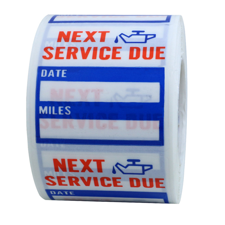 "Hybsk  2""x2""  PET clear paper Oil Change/Service waterproof reminder car stickers labels"