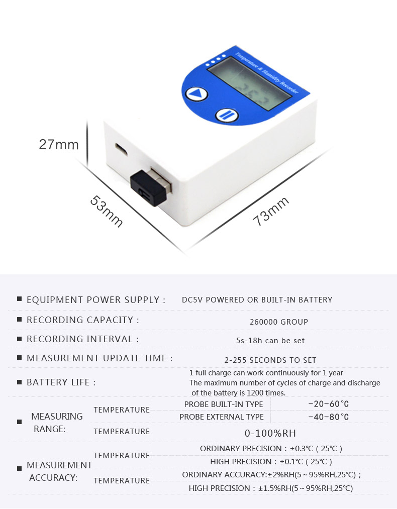 2 Years Warranty Usb Cold Chain Transport Humidity Temperature Data Logger