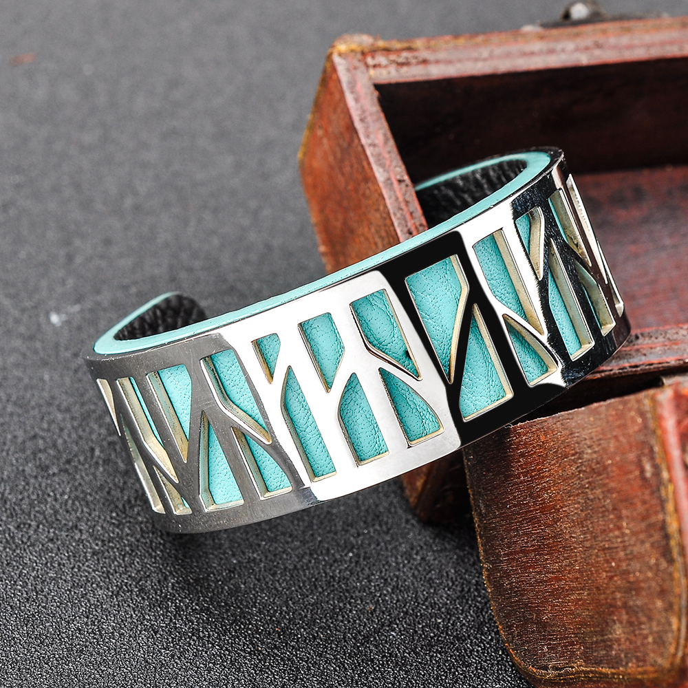 Wholesale Latest Iran Jewelry Teen Girl Exchangable Leather Bangle Cuff Silver Bracelet Custom