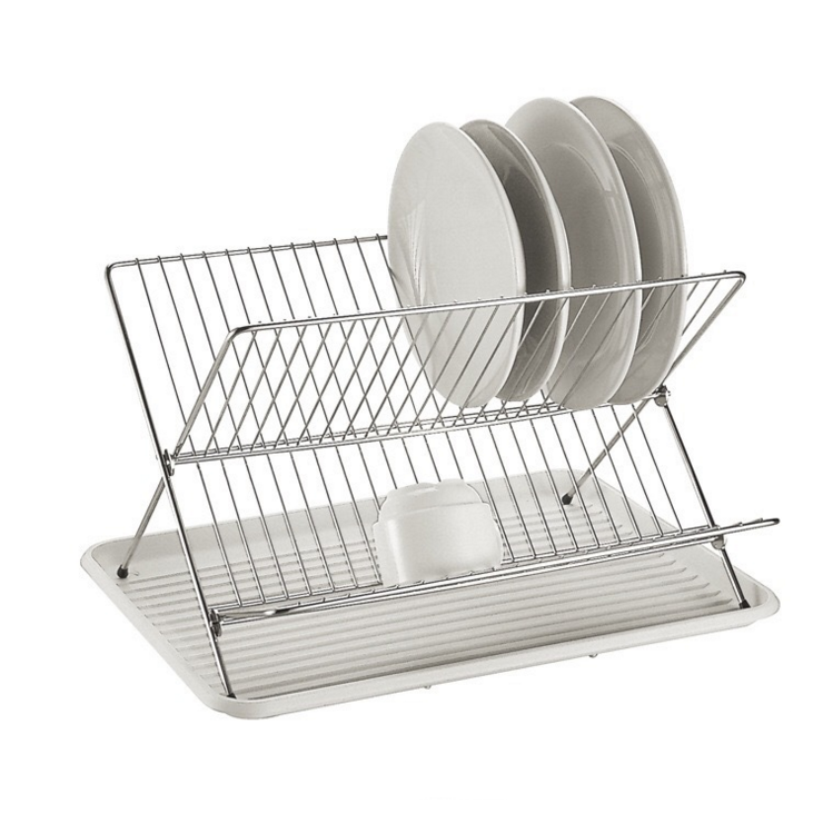1 tier Steel Chrome Finished Folding Dish Rack organize the plates and bowls